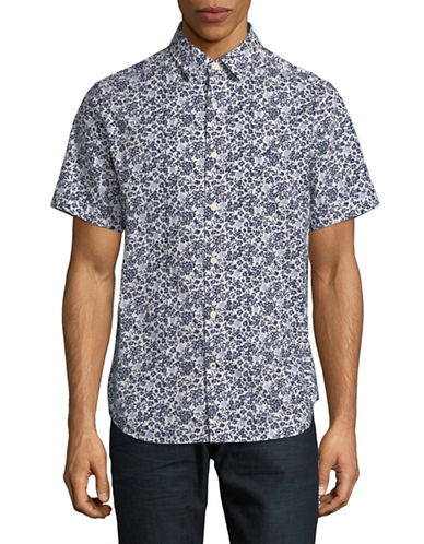 Nautica Floral Cotton Sport Shirt-BLUE-Large