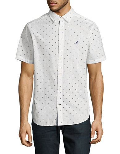 Nautica Shark Print Cotton Sport Shirt-WHITE-Small