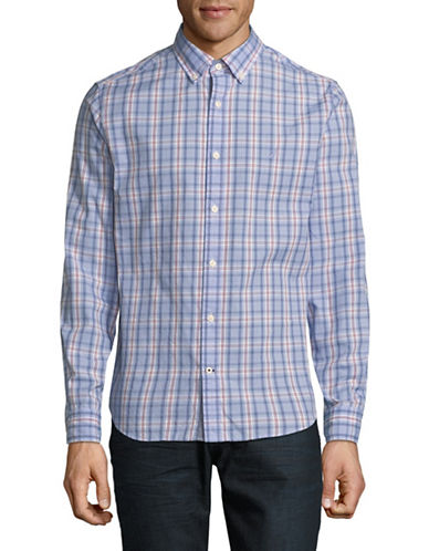 Nautica Plaid Cotton Sport Shirt-BLUE-Medium