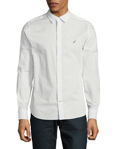 Nautica Printed Cotton Sport Shirt-WHITE-Large