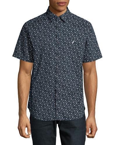 Nautica Floral Cotton Sport Shirt-NAVY-Medium