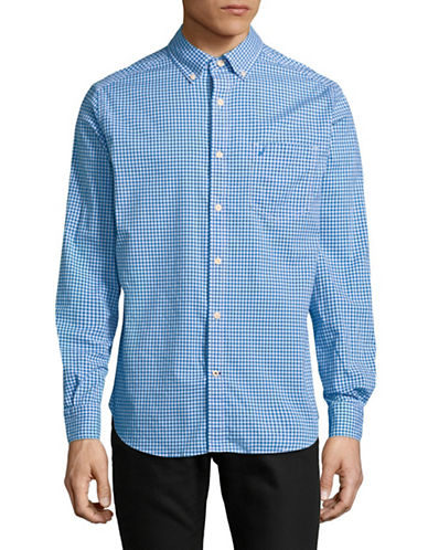 Nautica Classic-Fit Gingham Long-Sleeve Sportshirt-BLUE-Large