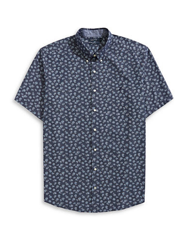 Nautica Big and Tall Floral Sport Shirt-BLUE-1X Tall
