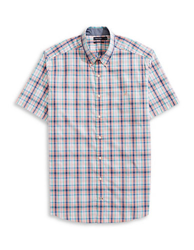 Nautica Big and Tall Tartan Short-Sleeve Sportshirt-MULTI-3X Tall