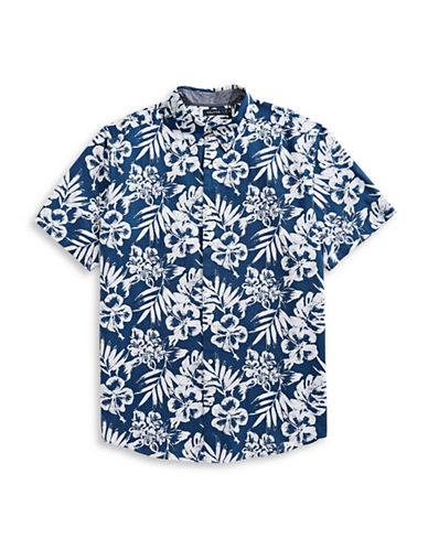Nautica Big and Tall Printed Short-Sleeve Sportshirt-BLUE-1X Tall