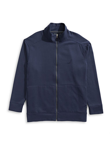 Nautica Big and Tall Fleece Full-Zip Jacket-NAVY-1X Tall