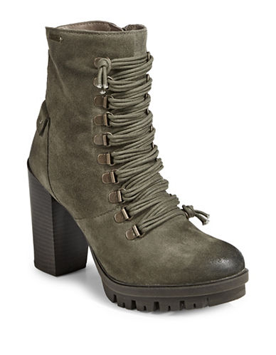 Bugatti Jaimie Lace-Up Suede Booties-GREEN-EUR 37/US 7