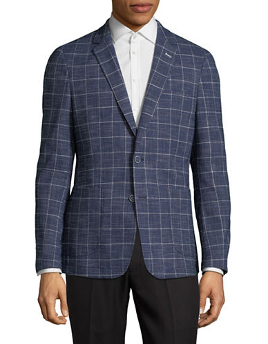 Sondergaard Windowpane Sport Jacket-BLUE-42 Short