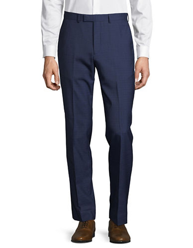Hawkins And Kent Straight Fit Pleated Dress Pants-BLUE-42X32