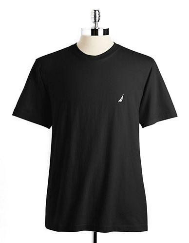 Nautica Short Sleeved Jersey Crew Tee-BLACK-Small