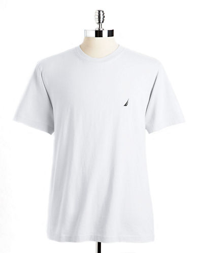 Nautica Short Sleeved Jersey Crew Tee-WHITE-Large