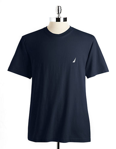 Nautica Short Sleeved Jersey Crew Tee-NAVY-Small