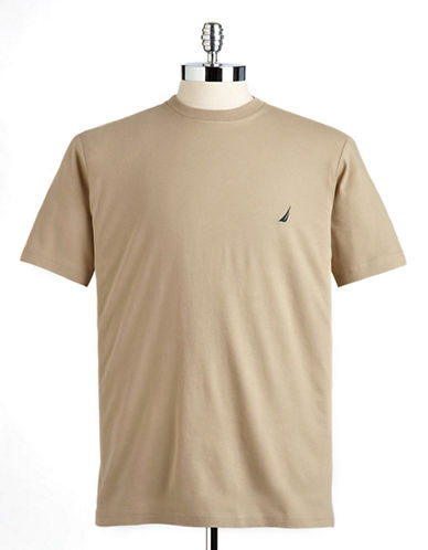 Nautica Short Sleeved Jersey Crew Tee-BEACH SAND-Medium