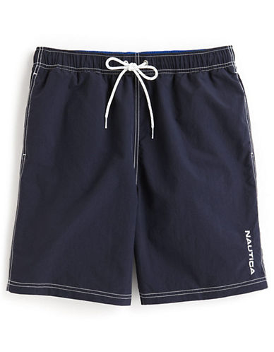 Nautica Nylon Swim Trunks-NAVY-Large