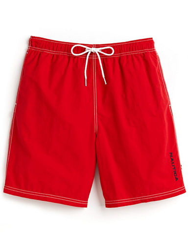Nautica Nylon Swim Trunks-RACER RED-Large