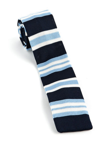 Skinny Striped Knit Tie navy One Size
