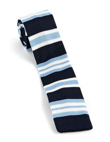 Skinny Striped Knit Tie navy One Size