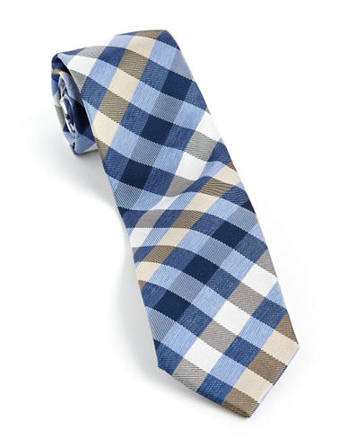 Checkerboard Plaid Tie dark blue One Size