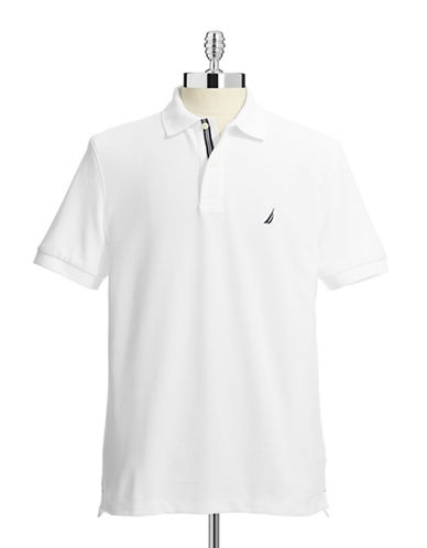 Nautica Solid Performance Deck Shirt-BRIGHT WHITE-Large
