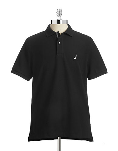 Nautica Solid Performance Deck Shirt-BLACK-X-Large