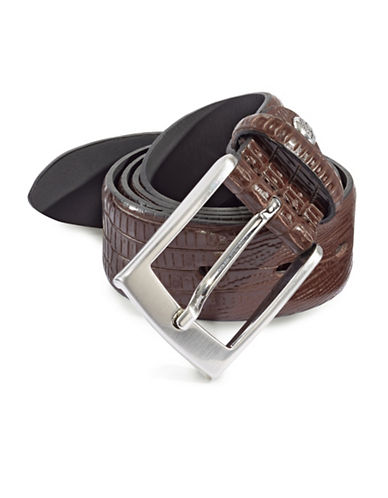 Bugatti Leather Crocodile Print Belt-BROWN-36