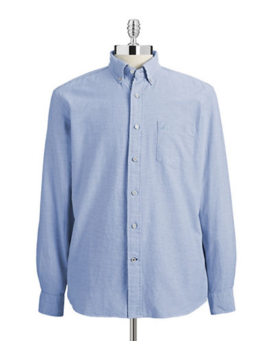 Nautica Oxford Weave Sport Shirt-LIGHT BLUE-Small