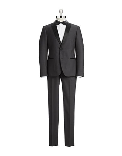 Sondergaard Grey  Jacquard Peak Lapel Slim Tuxedo-GREY-46 Regular
