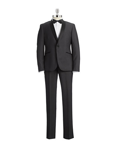 Sondergaard Grey Jacquard Shawl Collar Slim Tuxedo-GREY-42 Short