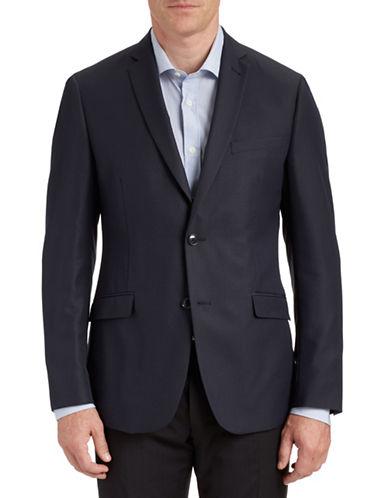 Sondergaard Fully Lined Gridded Suit Jacket-NAVY-38 Regular