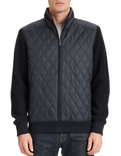 Bugatti Quilted and Rib Knit Jacket-NAVY-X-Large