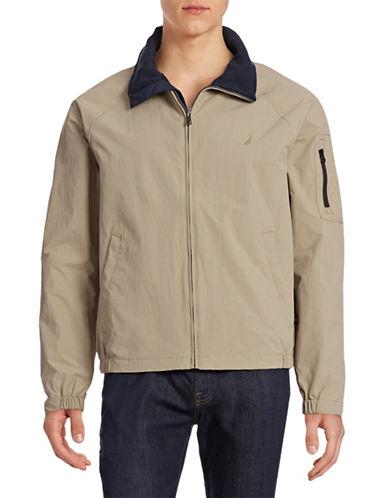 Nautica Solid Zip Front Jacket-TRUE KHAKI-X-Large