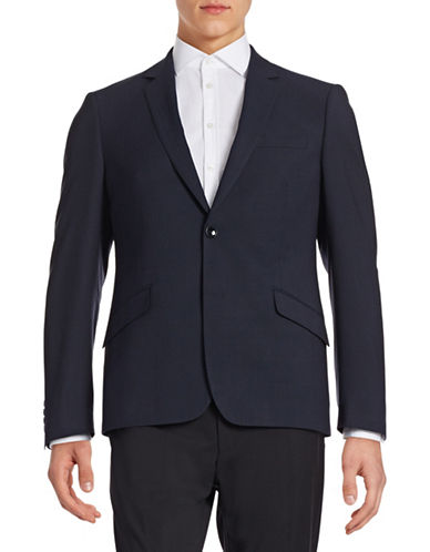 Sondergaard Slim-Fit Square Print Sportcoat-NAVY-44 Tall