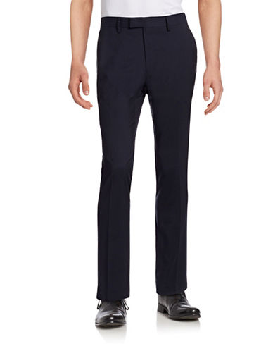 Sondergaard Slim Fit Square Print Suit Pants-NAVY-34X32