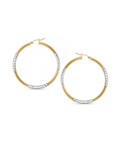 Gold Celebration Two-Tone 14K Gold Textured Hoops-GOLD-One Size