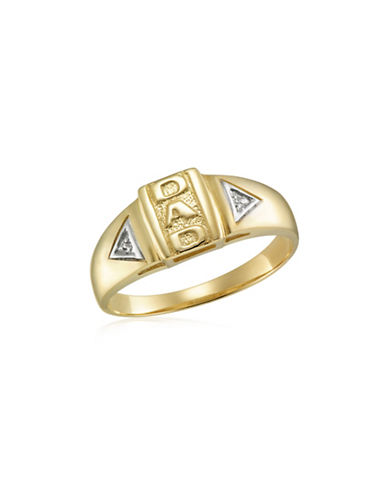 Fine Jewellery Rhodium and Yellow Gold Dad Engraved Ring-YELLOW GOLD-12