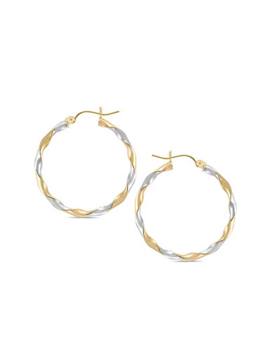Gold Celebration 14KT. Twisted Two Tone Hoop Earrings-TWO TONE-One Size