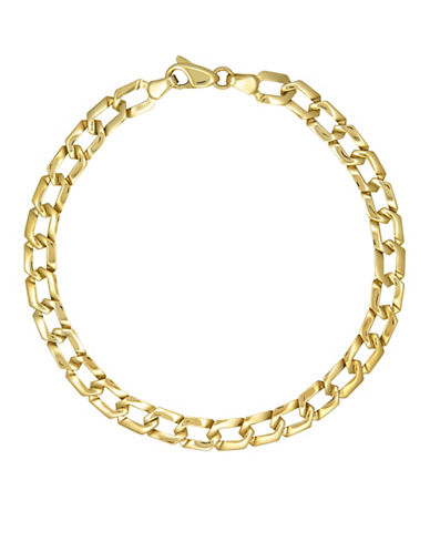 Fine Jewellery Yellow Gold Stamp Link Bracelet-YELLOW GOLD-One Size