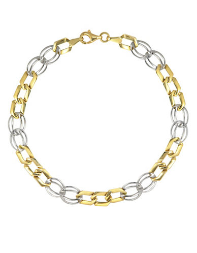 Fine Jewellery Two-Toned Stamp Link Bracelet-TWO TONE GOLD-One Size