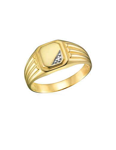 Fine Jewellery Rhodium Illusion Pave Yellow Gold Signet Ring-YELLOW GOLD-12