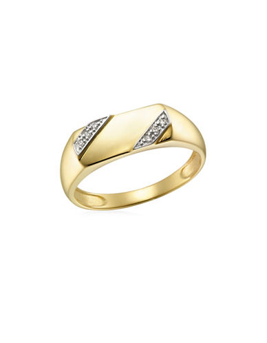 Fine Jewellery 0.03 TCW Diamonds Yellow Gold Ring-GOLD-12