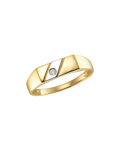 Fine Jewellery 0.05 TCW Diamond Two-Tone Signet Ring-TWO TONE-10