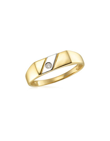 Fine Jewellery Two-Toned .05TCW Diamond Signet Ring-TWO TONE-12