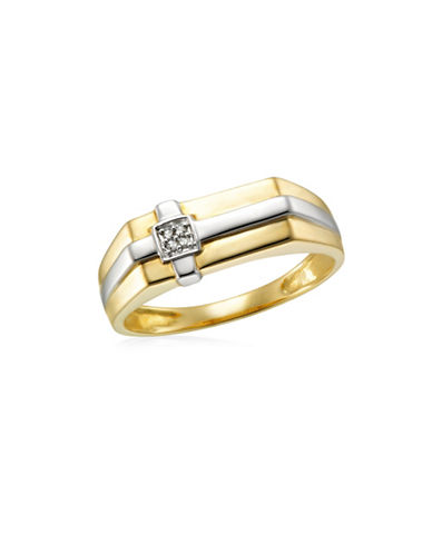 Fine Jewellery Two-Toned .02TCW Diamond Cross Ring-TWO TONE-12