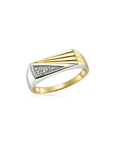 Fine Jewellery Two-Toned 10K Gold .02TCW Diamond-Accented Ring-TWO TONE-9