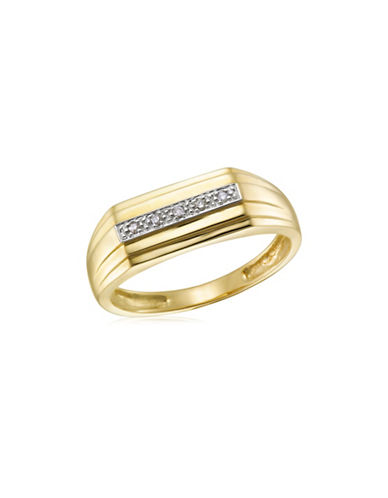 Fine Jewellery 10K Gold and .02TCW Diamond Studded Ring-TWO TONE-10
