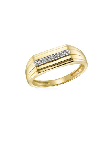 Fine Jewellery 10K Gold and .02TCW Diamond Studded Ring-TWO TONE-11