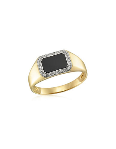 Fine Jewellery Yellow Gold And Onyx Ring With 0.05TCW Diamond Accent-ONYX-11