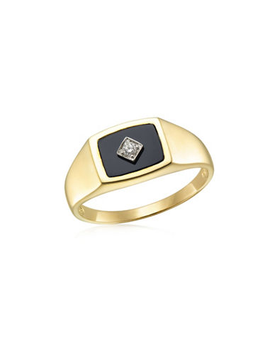Fine Jewellery Diamond, Onyx and Yellow Gold Ring-BLACK-10