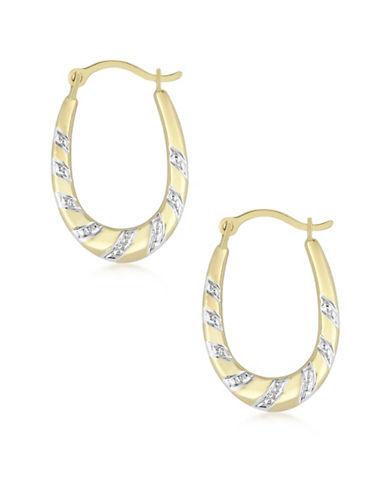 Fine Jewellery 10K Yellow Gold Two-Tone Oval Hoop Earrings-MULTI-One Size