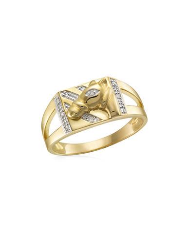 Fine Jewellery 0.05 TCW Diamonds Yellow Gold Horsehead Ring-YELLOW GOLD-10
